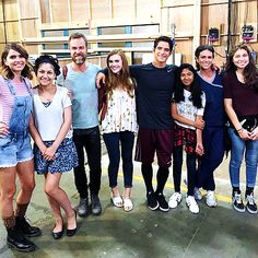 The cast of Teen Wolf on set with fans.