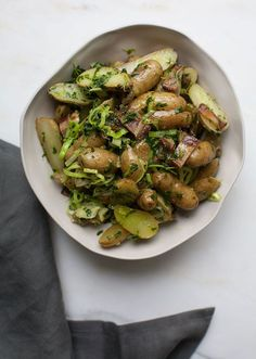 This one is for potato salad haters. The dressing has zero mayo. This No-Mayo Potato Salad features herbs, bacon, and leeks instead.