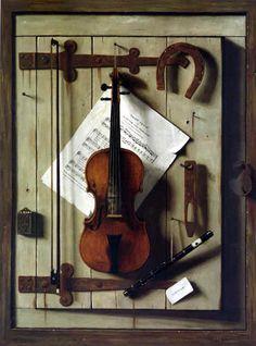 William Harnett – violin. – William Michael Harnett (1848-1892) was an Irish-American painter known for his trompe-l'œil still lifes of ordinary objects.