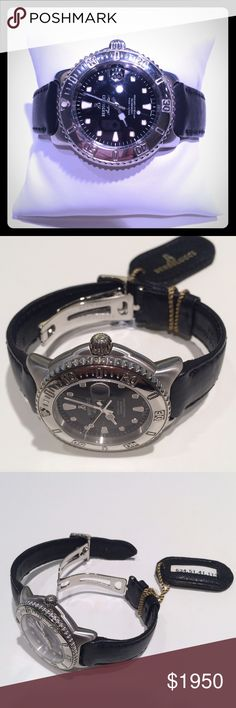 NWT Bertolucci Automatic Diver Watch NWT Bertolucci Steel Automatic Diver Watch.  Black dial, deployant clasp.  Swiss made chronometer.  Water resistant to 1000ft.  Approximate 40mm case size.   Black dial with date.  Easy read. Bertolucci Accessories Watches