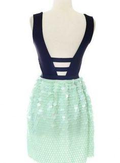 Navy & Mint Sequin V-Neck Cutout Back Dress,  Dress, navy mint sequin vneck cutout, Chic