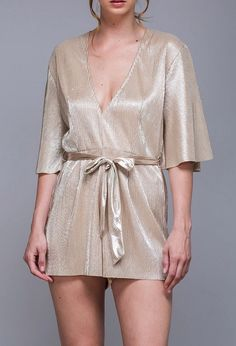 This gold metallic romper will have you on the A-List!  Shop www.yipsy.net  #romper #goldmetallic #metallic #nightout
