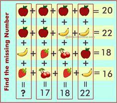 fruit riddle find missing number