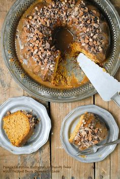 Pumpkin Spice Buttermilk Bundt Cake with Dark Salted Caramel Glaze -  BoulderLocavore.com Healthy Cake Recipes, Pound Cake Recipes, Frosting Recipes, Cupcake Recipes, Cupcake Cakes, Bundt Cakes, Baking Recipes, Sweets Recipes, Cinnamon Chips