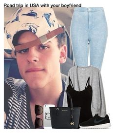 """""""Road trip in USA with your boyfriend"""" by irish26-1 ❤ liked on Polyvore featuring Ray-Ban, Topshop, Michael Kors and NIKE"""