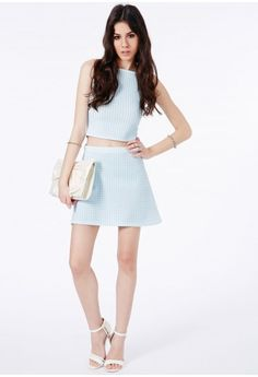 Petricia Dogtooth A-Line Skirt In Baby Blue