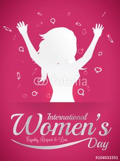 Woman Silhouette with open Arms and Woman Symbols Around for Women's Day