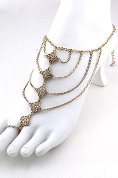 Lotus Draped Foot Chain (1 Chain) - Gold