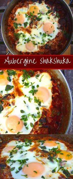Shakshuka is a great idea for Pesach! A spicy, garlicky, saucy shakshuka with aubergine (eggplant) that makes a great breakfast, brunch or dinner! Serve with pita bread to soak up the sauce. Veggie Recipes, Vegetarian Recipes, Healthy Recipes, Vegetarian Cooking, Soup Recipes, Irish Recipes, Vegan Food, Kosher Recipes, Cooking Recipes