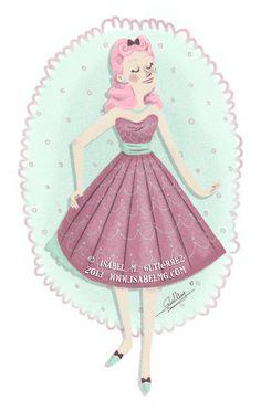 By Isabel M. Gutiérrez www.isabelmg.com    #illustration #pinup #pinupillustration #cuteillustration #adorable