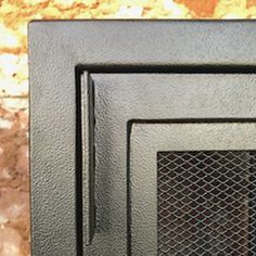 black mesh cabinet corner detail