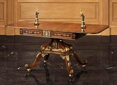 A Regency Period Ormolu Mounted & Brass Inlaid Rosewood Sofa Table 18th cent. England Maker was Louis Gaigneur.