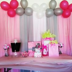Elephant theme baby shower: Its A Girl. Pink, Gray, and, white colors.