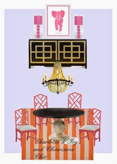 Chinoiserie Chic: Chinoiserie Chic Color of the Year 2014 oh goody, i have this table!!! i could paint the boring cream wood chairs a red to go with persion rug, hang gold crystal chandalier ... then just keep fingers crossed for buffet someday?  how does hat sound?