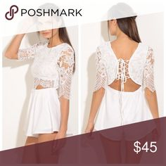 """New white lace romper - S,M,L Sizes available: SMALL, MEDIUM, LARGE   . BRAND NEW FROM MY BOUTIQUE  . Fabric Content: 65% COTTON 35% POLYESTER  . Available in several other colors  . Model has on the exact product   ❣ Use the """"buy now"""" or """"add to bundle"""" feature to purchase ❣ Pants Jumpsuits & Rompers"""