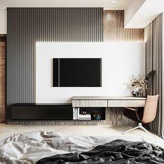 behance media image Tv Unit Bedroom, Room Design Bedroom, Small Room Bedroom, Master Bedrooms, Bedroom Ideas, Interior Design Boards, Decor Interior Design, Modern Wall Units, Tv Wall Units