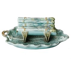 French Majolica Asparagus Dish with Leaf Under-Plate