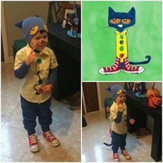 DIY Pete the Cat costume Book Characters Dress Up, Character Dress Up, Book Character Day, Book Character Costumes, Cat Costumes, Cool Halloween Costumes, Halloween Cat, Halloween Ideas, Costume Ideas