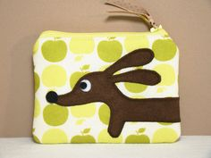 Dachshund Coin Purse  Doxie Green Apple by persnicketypelican, $12.50