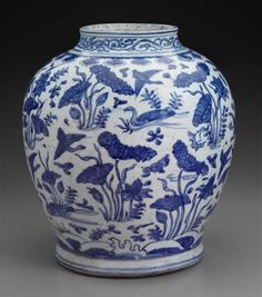 Jar with blue-and-white decoration of ducks in lotus pond  Chinese, Ming dynasty, Wanli period, 1572–1620