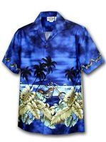 Men's Border Hawaiian Shirt 440-2846 [Motorcycle/Navy]