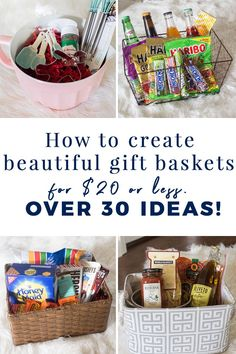 Tips for creating beautiful gift baskets for $20 or less! #budgetgiftidea #diygiftidea #giftbasket Diy Holiday Gifts, Diy Crafts For Gifts, Christmas Diy, Homemade Christmas, Christmas Stuff, Holiday Ideas, Creative Gift Baskets, Creative Gifts, Unique Gifts