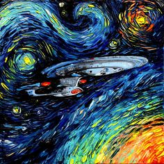 CANVAS Star Trek Art Starship Enterprise space print van Gogh Never Boldly Went art starry night Aja inches