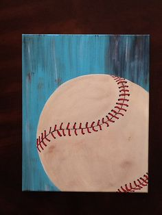 16x20 Hand Painted Baseball Canvas by PamperedPinkDesigns on Etsy