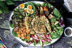 Grilled Halibut Salad With Market Vegetables