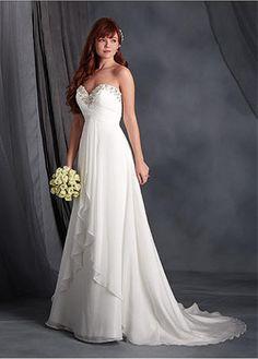 Charming Chiffon Sweetheart Neckline Empire Wedding Dresses with Beadings &…