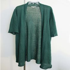 Eileen Fisher sweater lagenlook top artsy art to wear designer green Linen sz XL #EileenFisher #Cardigan