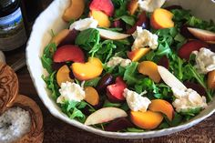 1 peach 1 nectarine 2 plums or pluots 2 cups arugula 2 beets, peeled, cooked and sliced 1 ball burrata 3 tbsp balsamic vinegar 4 tbsp olive oil 1 clove garlic, minced Kosher salt and freshly-cracked black pepper