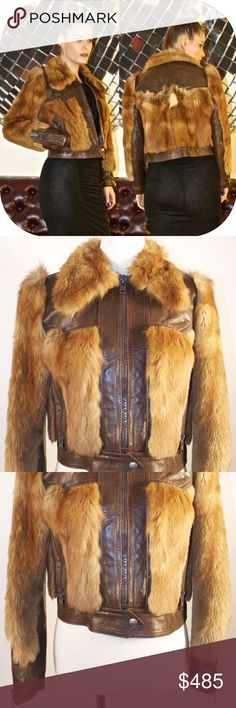 """Vintage Roger Roche Paris Fox Fur Leather Jacket B R A N D : Roger Roche Paris  D E S C R I P T I O N: This jacket is one of my most coveted pieces, but it's time to let it go!Featuring beautiful, soft long red / tan / white fox fur, a chunky exposed zipper closure and sleeve vents that can be worn open for a bell sleeve look or closed for a fitted wrist. The fur and the leather 'blocking' and lining is impeccable. There is no label for the fabric content.  B U S T : 19""""  H I P : 19""""  A R M…"""