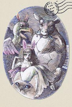 展覧会「アリスへの手紙」恵比寿のギャラリーで開催 - イラストレーターの宇野亜喜良も登場   ニュース - ファッションプレス Lewis Carroll, Alice In Wonderland Illustrations, Illustration Manga, Pin Up, Baby Bunnies, Japan Art, Cherub, Alice Madness, Akira