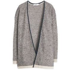 Mango Textured Knit Cardigan, Beige found on Polyvore featuring tops, cardigans, jackets, outerwear, sweaters, relaxed fit tops, short sleeve tops, black top, mango cardigan and short-sleeve cardigan