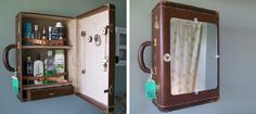old suitcase can be a  perfect bath closet