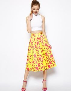 Image 1 of ASOS Midi Skirt in Abstract Print