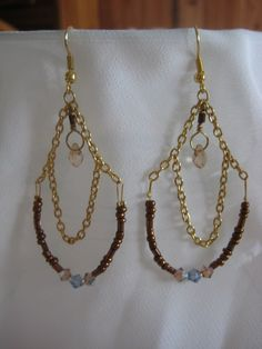 'Fancy Teardrop' gold and bronze earrings