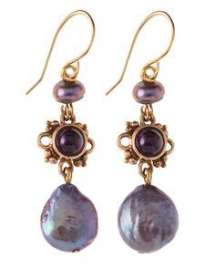 Purple Pearl Drop Earrings by Stephen Dweck at Last Call by Neiman Marcus.