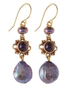 Purple Pearl Drop Earrings by Stephen Dweck at Last Call by Neiman Marcus.