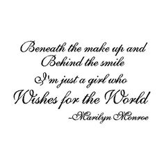Marilyn Monroe Wall Quotes ❤ liked on Polyvore featuring quotes, words, marilyn monroe, text, phrase and saying