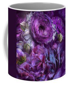 Peonies In Purples 2 mug featuring the art of Carol Cavalaris.