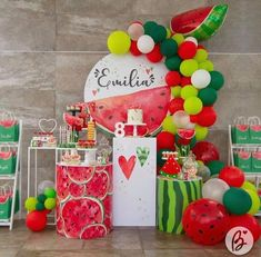 Watermelon Party Decorations, Watermelon Birthday Parties, 1st Birthday Party For Girls, Kids Party Decorations, Baby Birthday, Colorful Party, Tropical Party, Art Party, Its My Bday