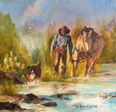 """""""Break For The Ride"""" oil painting by Karen Chatham"""