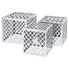 Three metal cube stools with a Moroccan trellis motif.    Product: Small, medium and large stoolConstruction Materi...