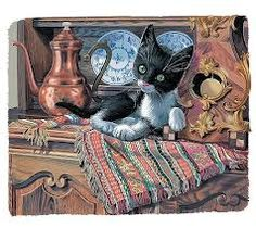by Marcel Marlier. Marcel, Kittens, Cats, Cat Cat, 1970s Childhood, Vintage Cat, Book Illustration, Beautiful Images, Panther
