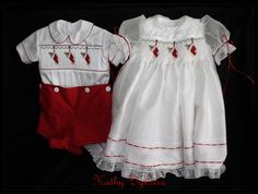 Smocked Christmas stockings dress and suit for twins