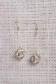 Geometric Caged Crystal Dainty Drop Earring