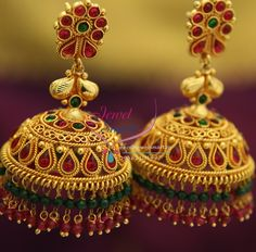 broad-grand-temple-kempu-ruby-emerald-beads-hangings-dulhan-jhumka-buy-online…