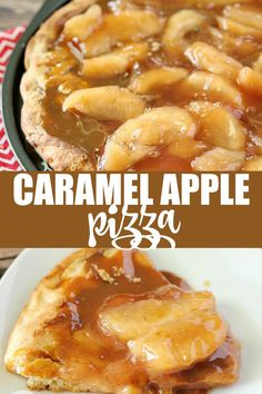 Caramel Apple Pizza is one of my favorite fall pizza recipes. A sweet pizza recipe that is loaded with apples, spice, and of course caramel. Topped on a pizza crust and baked to sweet perfection. Apple Dessert Recipes, Köstliche Desserts, Apple Recipes, Pizza Recipes, Meat Recipes, Fall Recipes, Delicious Desserts, Chicken Recipes, Cooking Recipes